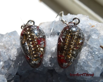 Earrings Orgonite® with clear Quartz, 925 Sterling Silver Red