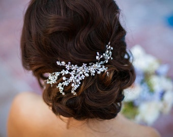 Bridal Pearl Hair Comb AND Rhinestones Hair Pin, Wedding Hair Comb