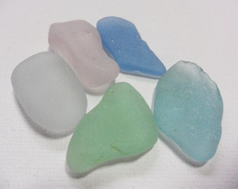 5 English seafoam blue and pastels sea glass- Lovely beach sea glass beach finds