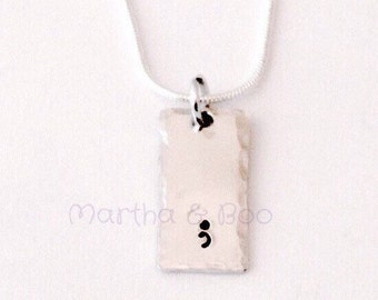 Semicolon necklace, bar necklace, semi colon pendant, punctuation jewelry, hand stamped vertical bar, customised rectangle, gift for her