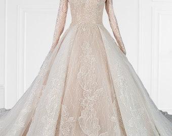 Unique Conservative Lace Long Sleeve Wedding Gown