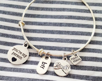 You're My Person, Pinky Promise, Friendship Bracelet, Grey's Anatomy, Bangle, Bracelet, Best Friend, Christmas Gift For Her, Stacking Bangle