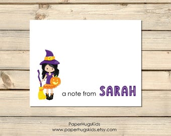 PRINTABLE Personalized Halloween Note Cards - Halloween Stationery - Cute Witch Stationery - Witch Note Cards - Halloween Cards - Digital