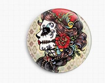 Needle Minder - Licensed Art By Illustrated Ink - Rose Red - Cross Stitch Keeper - Fridge Magnet