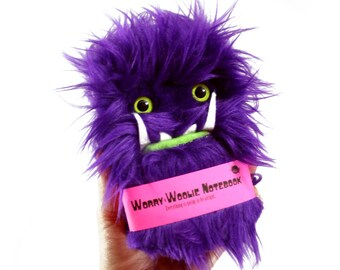 Worry Woolie children's Notebook, magical purple and green monster