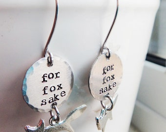 For Fox Sake Earrings- Funny Silver Fox Jewelry- Fox Animal Nature Gift- Fox Charm Teenager Swear Fox Earrings