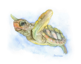Sea Turtle Watercolor Painting - 7x5- Giclee Print Reproduction Sea Creature Ocean Animal Art