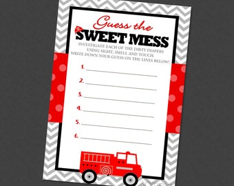 Guess The Sweet Mess Firetruck Baby Shower Game - INSTANT DOWNLOAD - Fire Engine Truck Candy Bar Smell