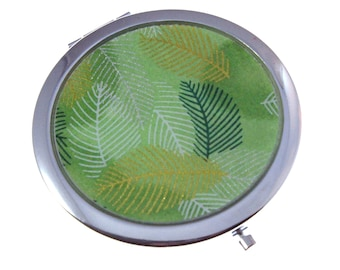Green Leaves Chiyogami. Compact Mirror