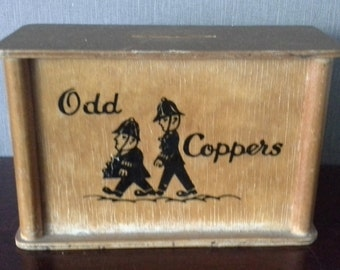 """vintage wooden """"old Coppers"""" money box"""