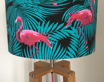 Tropical Flamingo Fabric Drum Lampshade