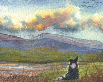Border Collie dog 5x7 8x10 11x14 art print sheepdog landscape hills mountains Scotland admiring view from Susan Alison watercolor painting