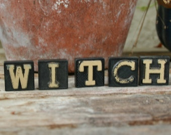 witch halloween decor vintage game piece letters typography