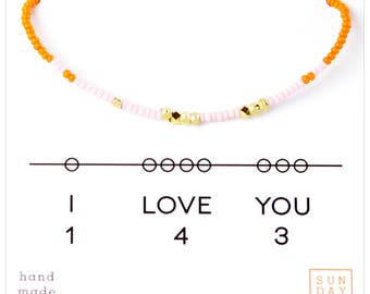 I Love You 143 Friendship Bracelet - Pink/Orange  Bestie Bracelet, Friendship Bracelet, gift for grad