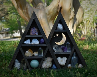 Moon & Stars Double Peaked Triangle Crystal Display Shelf