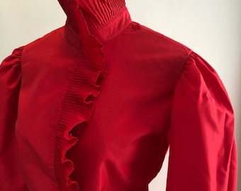 Vintage lipstick red pleated ruffled blouse, size M/10 Gibson Girl style Fortuny pleated ruffled neck cuffs, puff sleeve fitted red blouse