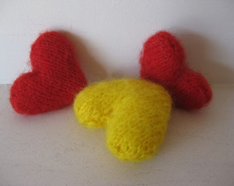 3 catnip hearts, Kitten, cat, toy, catnip, catnip toy, cat toy, knitted cat toy
