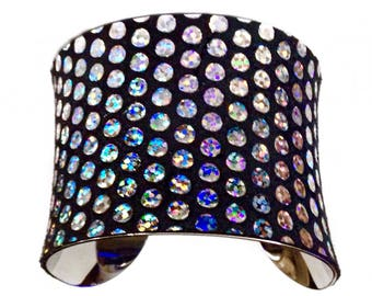 Metallic Silver Opalescent Polka Dot Leather Cuff Bracelet  - by UNEARTHED