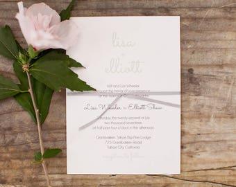 Simple Wedding Invitation. Simple Wedding Invite with Ribbon Detail.  Calligraphy Wedding Invite. Classic Wedding Invite.