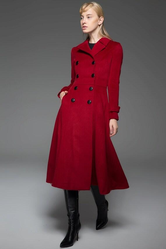 Attractive Long wool coat winter coat Red wool Coat wool coat womens EB32