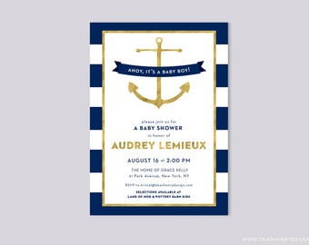Ahoy It's a Boy Baby Shower Invitation, Faux Gold Foil and Navy Nautical Anchor Invite, Professionally Printed or DIY Printable