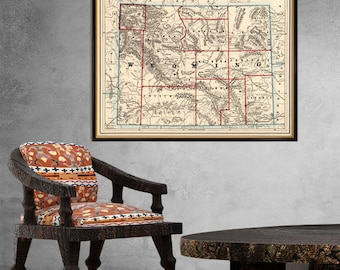 Wyoming map - Vintage map of Wyoming fine giclee print