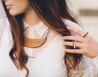 Statement necklace - laser cut wooden jewellery - necklace for work - eco friendly wooden necklace
