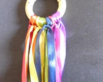 Wooden Vintage Rainbow Dancing Ring Hand Kite Waldorf Craft