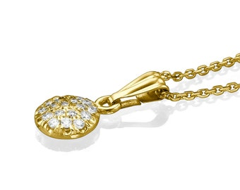 Halo 14K Yellow Gold Pendant Necklace - Bridal 0.11 CT G Diamond Pendant Necklace Unique Necklaces For Women