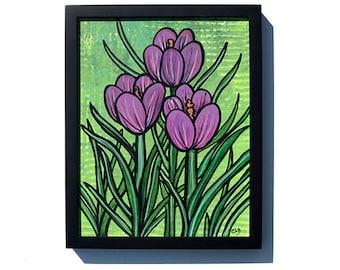 Purple Crocus Painting - Original Floral Painting, Botanical Wall Art, Spring Flower Modern Art by Claudine Intner