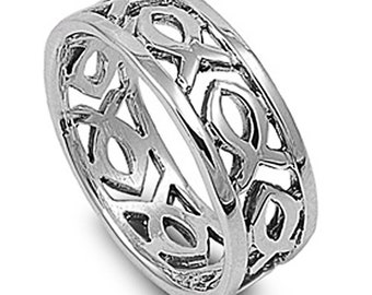 Men Women Sterling Silver Plain Christian Fish Band Ring 9mm / Free Gift Box(SNRP140386)