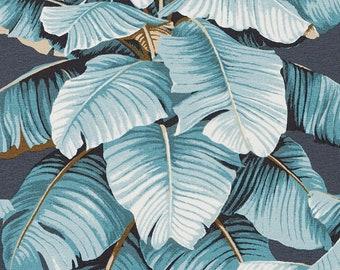 Blue Grey Leaf Fabric for Drapery and Furniture Upholstery - Custom Navy Blue Leaf Curtains - Custom Roman Shade - Modern Blue Leaf Pillows