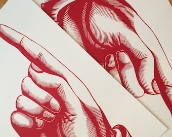 2 POINTING FINGER posters Letterpress prints Vintage pointing hand sign Pointy finger Gifts for designers Graphic designer Wall decor