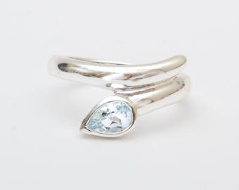 Use Code NEXT0RDER to get 10% off Blue Topaz Ring, Sterling Silver Ring With Stone, Unique Silver Rings, Solitaire Ring, December Birthstone