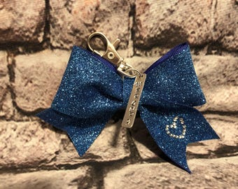 Key chain bow with hand stamped tag