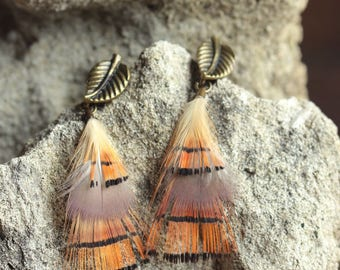 Earrings orange and black pheasant feathers overlay