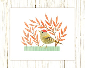 Ruby-Crowned Kinglet Print -- bird art -- bird art 52 birds stephanie fizer coleman illustration blue orange