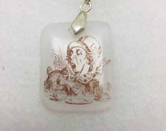 Alice In Wonderland fused glass pendant with free UK p&p