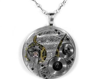 Steampunk Jewelry Necklace Vintage GUILLOCHE WALTHAM Pocket Watch Steam Punk  Men Women Wedding Anniversary - Jewelry by Steampunk Boutique