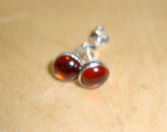 Cinnamon Hessonite Garnet Earrings Threaded screw-on posts stud bezel set- eco friendly sterling silver- Natural 7mm Success stone protects