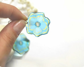 Forget me not earrings for cousin gift Birthday gift Blue earrings flower jewelry Nature earrings Summer jewelry Transparent earrings resin