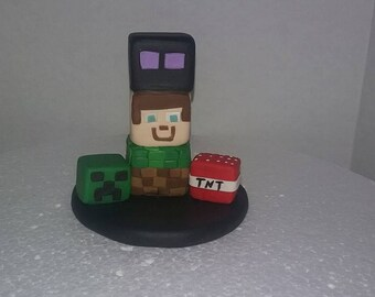Minecraft inspired figurines cake topper