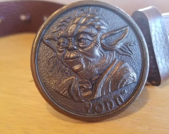 Vintage Yoda Belt Buckle with Lee  Leather Belt 1980 Lucas Films Star Wars