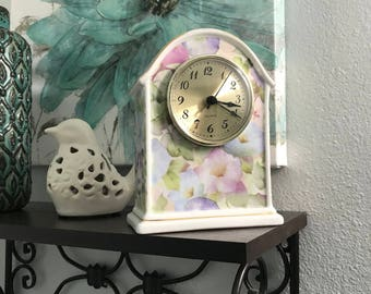 Vintage Clock Formalities by Baum Bros. Quartz Battery Operated Clocks with Floral Design of Morning Glory, Gold Trim, Item #550114682