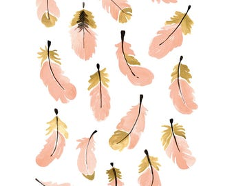 Pink & Gold Feathers wall decals - Girl  Nursery Wall Decals