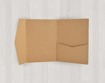 10 Mini Pocket Enclosures - Light Brown & Gold - DIY Invitations - Invitation Enclosures for Weddings and Other Events