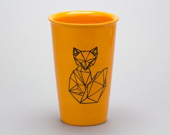 16oz Hand Painted Travel Mug with Faceted Fox