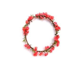 Woodland crown with coral pink flowers, realistic flower crown with greenery and pink baby's breath
