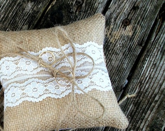 Natural Burlap/Hessian Ring Bearer Wedding Pillow/Cushion with White Lace