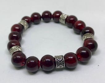 Burgundy and Silver Beaded Bracelet